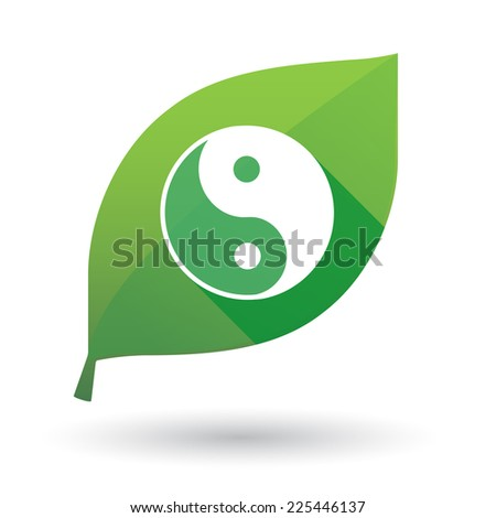 Illustration of an isolated green leaf icon with a ying yang