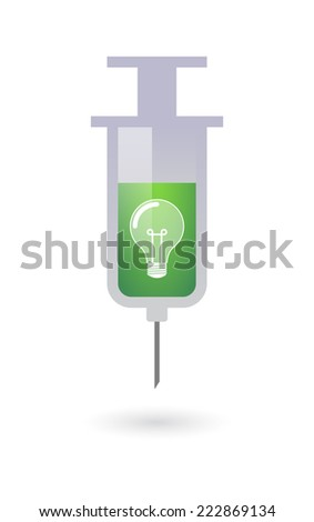 Illustration of an isolated green syringe with a light bulb