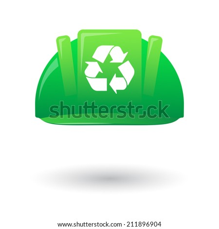 Illustration of an isolated green work helmet wit a recycle sign