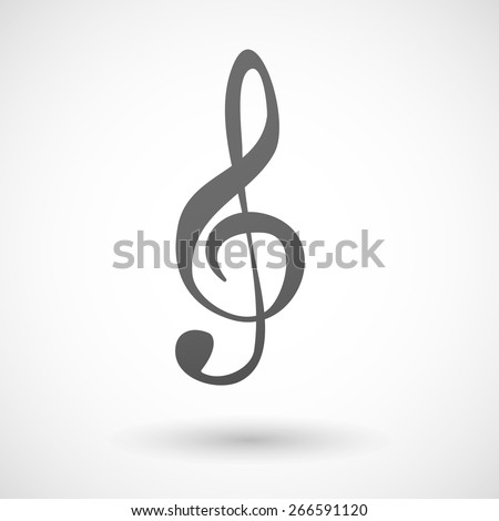 Illustration of an isolated grey g clef icon - stock vector