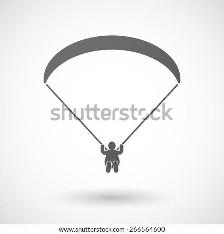 Illustration of an isolated grey paraglider icon  - stock vector