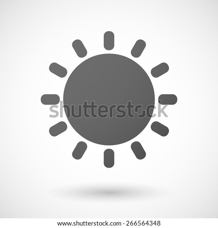 Illustration of an isolated grey sun icon - stock vector