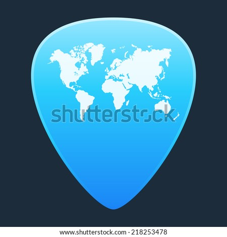 Illustration of an isolated guitar pick with a world map - stock vector