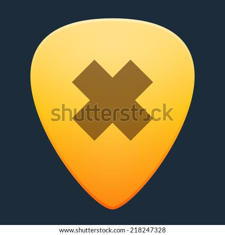 Illustration of an isolated guitar pick with an irritating substance icon - stock vector