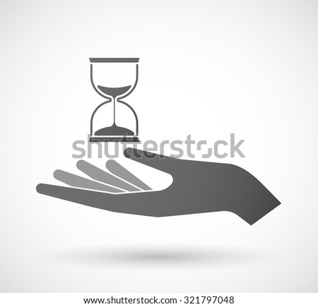Illustration of an isolated hand giving a sand clock - stock vector