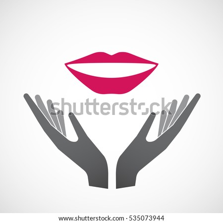 Illustration of an isolated hands offering sign with  a female mouth smiling