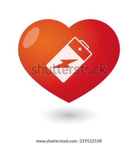Illustration of an isolated heart with a battery - stock vector