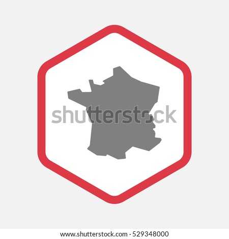 Illustration of an isolated hexagonal line art icon with  the map of France