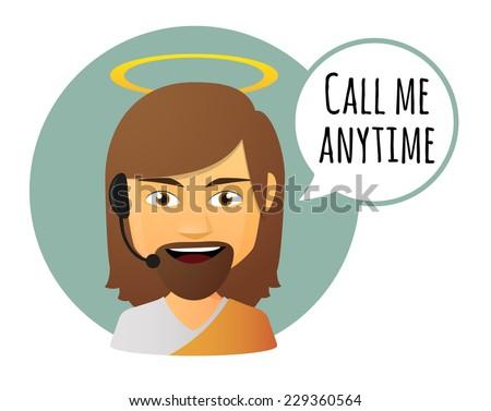 Illustration of an isolated Jesus avatar with a comic balloon - stock vector