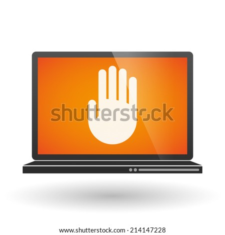Illustration of an isolated laptop with a hand - stock vector
