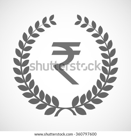 Illustration of an isolated laurel wreath icon with a rupee sign - stock vector