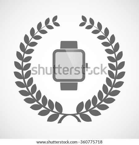 Illustration of an isolated laurel wreath icon with a smart watch - stock vector