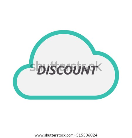 Illustration of an isolated line art cloud icon with    the text DISCOUNT