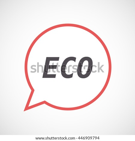 Illustration of an isolated line art comic balloon icon with    the text ECO