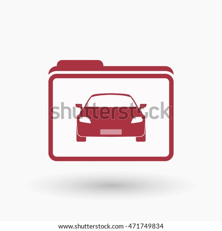 Illustration of an isolated  line art folder icon with a car