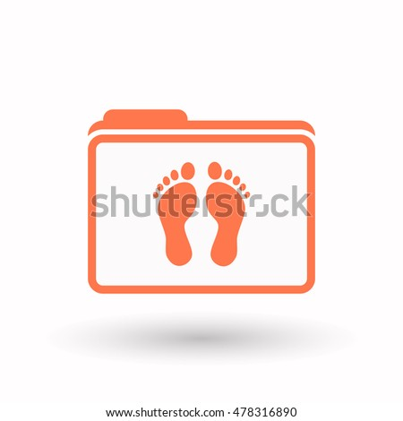 Illustration of an isolated  line art  folder icon with two footprints