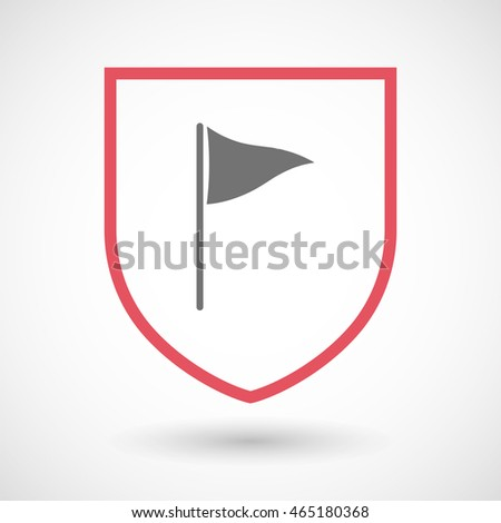 Illustration of an isolated line art  shield icon with a golf flag