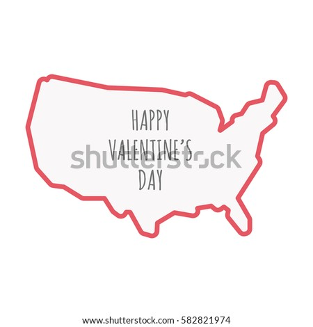 Illustration Isolated United States America Line Stock Vector