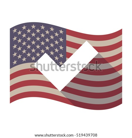 Illustration of an isolated long shadow waving United States of America flag with a check mark