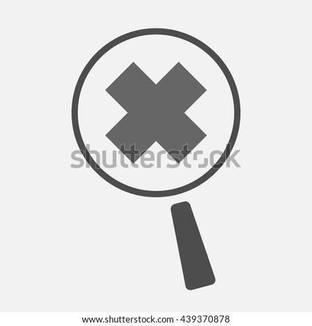 Illustration of an isolated magnifier icon with an irritating substance sign - stock vector