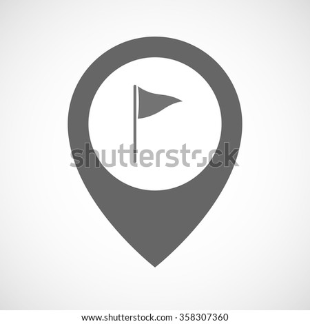 Illustration of an isolated map marker with a golf flag - stock vector