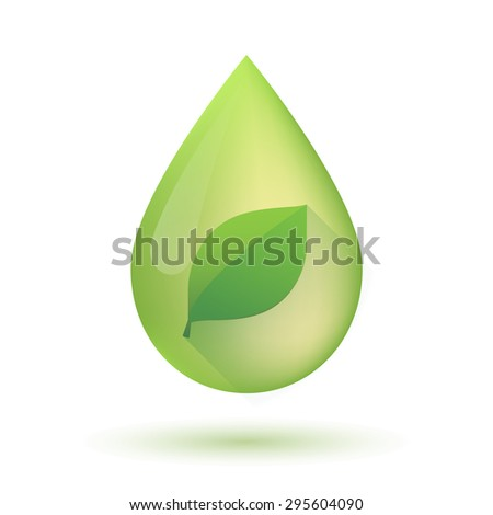 Illustration of an isolated olive oil drop icon with a leaf