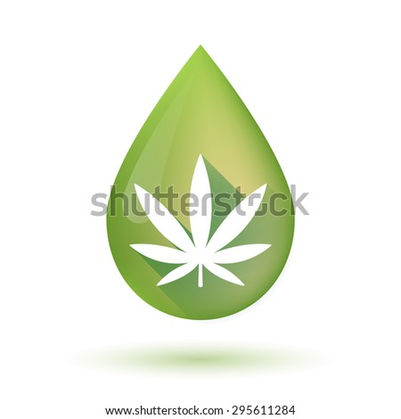 Illustration of an isolated olive oil drop icon with a marijuana leaf - stock vector