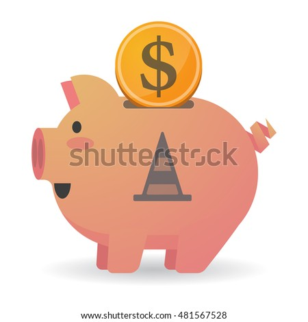 Illustration of an isolated piggy bank icon with a road cone