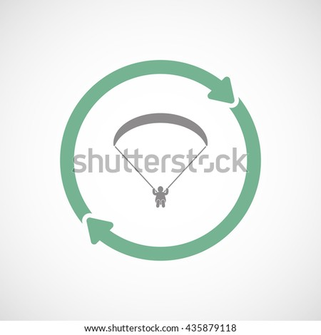 Illustration of an isolated reuse line art sign with a paraglider - stock vector