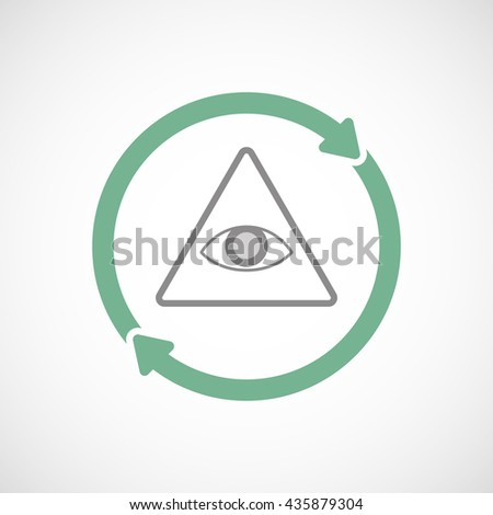 Illustration of an isolated reuse line art sign with an all seeing eye