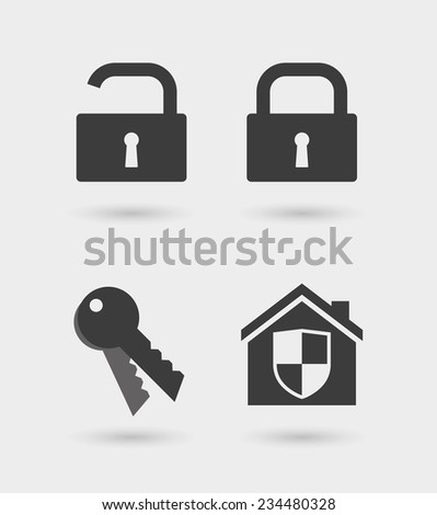 Illustration of an isolated security  icon set   - stock vector