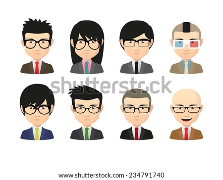 Illustration of an isolated set of Asian male avatars with various hair styles wearing glasses - stock vector