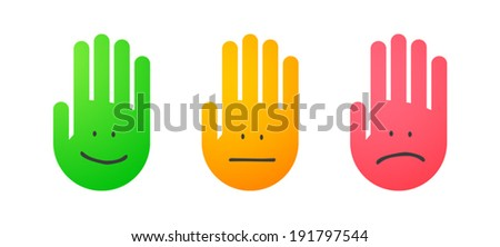 Illustration of an isolated set of hands icons - stock vector