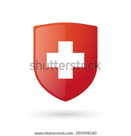 Illustration of an isolated shield with an icon - stock vector