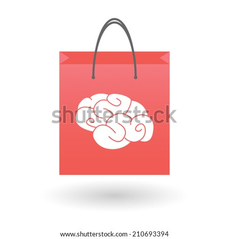 Illustration of an isolated shopping bag with a brain icon - stock vector