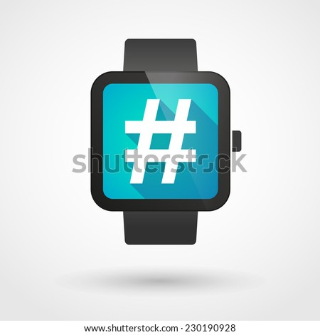 Illustration of an isolated smart watch icon with a hash tag - stock vector