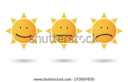 Illustration of an isolated sun survey icon set - stock vector