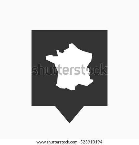 Illustration of an isolated tooltip icon with  the map of France