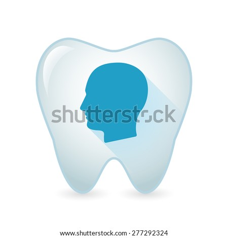 Illustration of an isolated tooth icon with a male head - stock vector