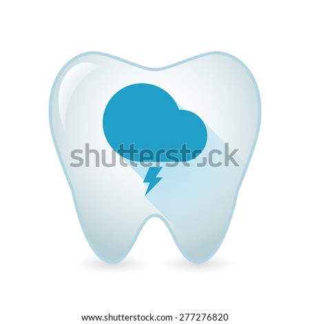 Illustration of an isolated tooth icon with a stormy cloud - stock vector