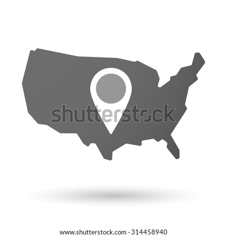 Ilration Of An Isolated Usa Map Icon With A Map Mark