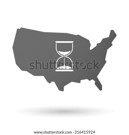 Illustration of an isolated USA map icon with a sand clock - stock vector