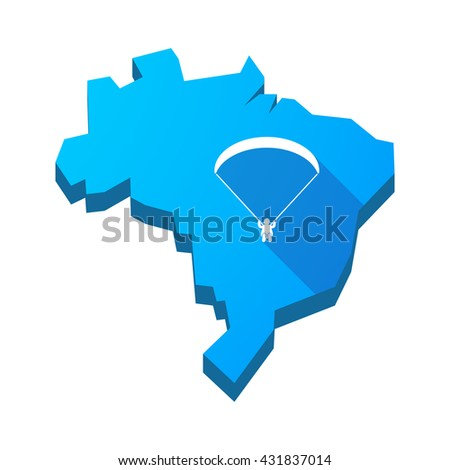 Illustration of an isolated vector Brazil map with a paraglider - stock vector