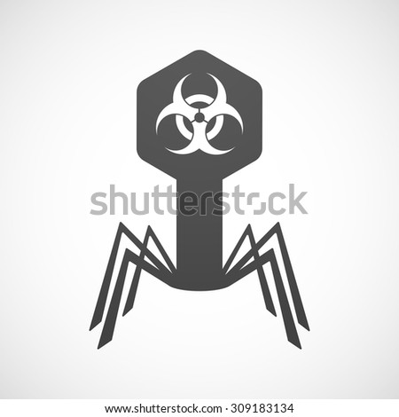 Illustration of an isolated virus icon with a biohazard sign - stock vector