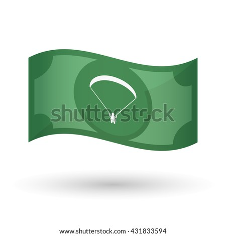 Illustration of an isolated waving bank note with a paraglider - stock vector