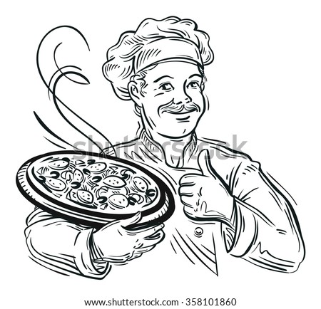 Illustration of an italian cartoon chef with a freshly baked pizza - stock vector