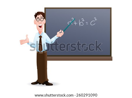 illustration of an male teacher at  work in isolated white - stock vector