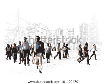 Illustration Of An Modern Urban Square - stock vector