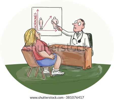Illustration of an obese woman patient talking to her doctor who is pointing to a chart on the wall done in caricature style.
