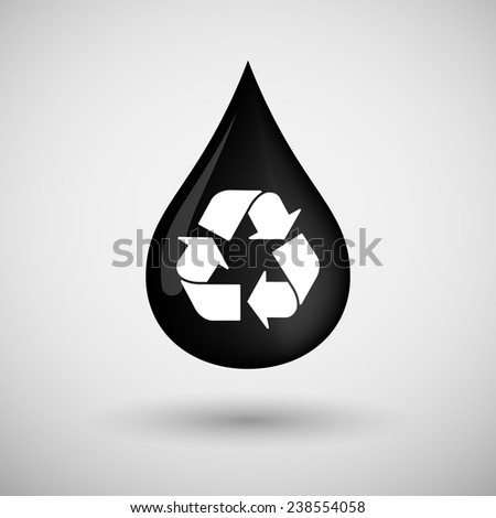 Illustration of an oil drop icon with a recycle sign - stock vector